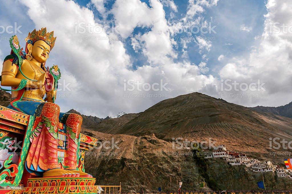 Buddha Statue in Nubra Valley Ladakh, Northern India. stock photo