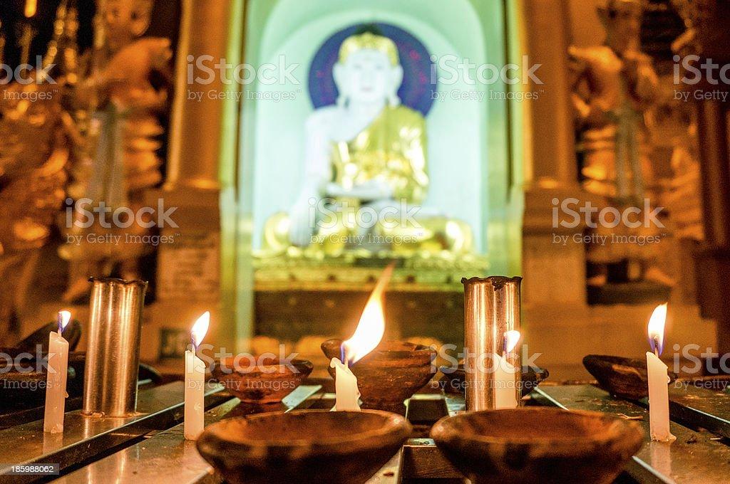 Buddha statue in Shwedagon, Yangon, Myanmar royalty-free stock photo
