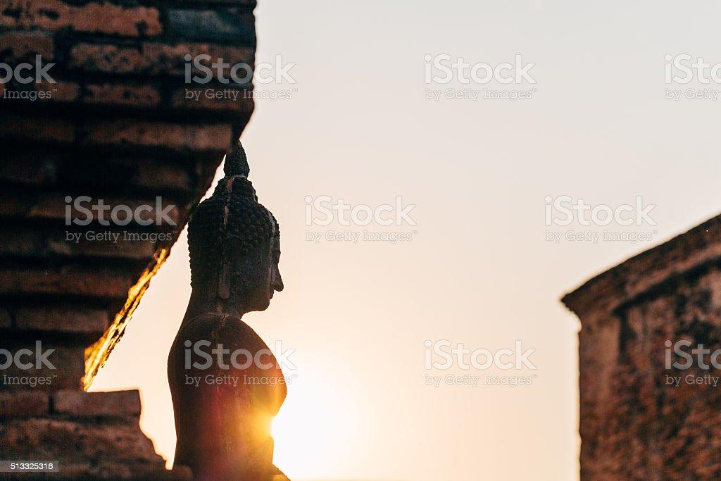 Buddha statue in Sukhothai stock photo