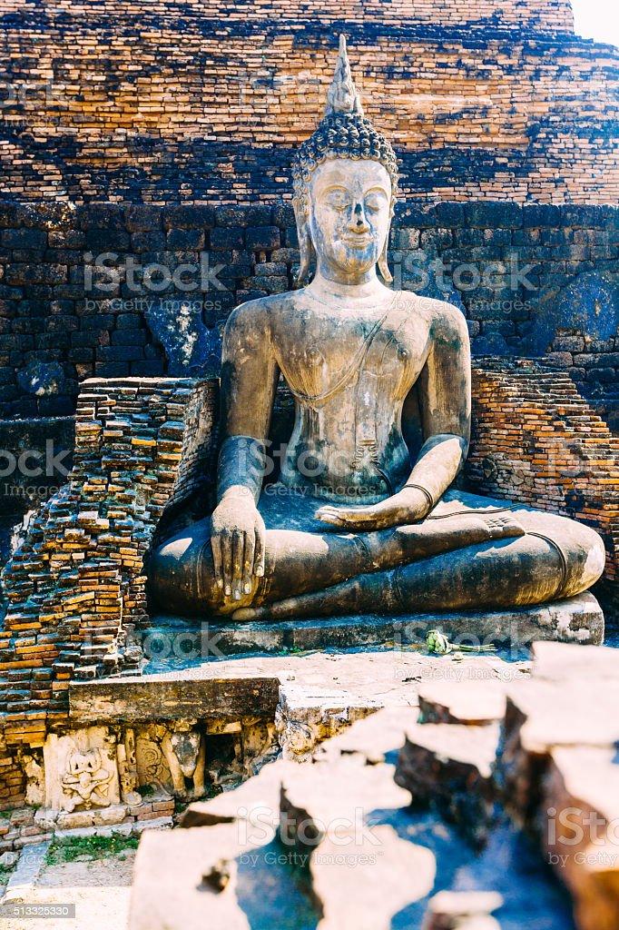 Buddha statue in Sukhothai temple, Thailand stock photo