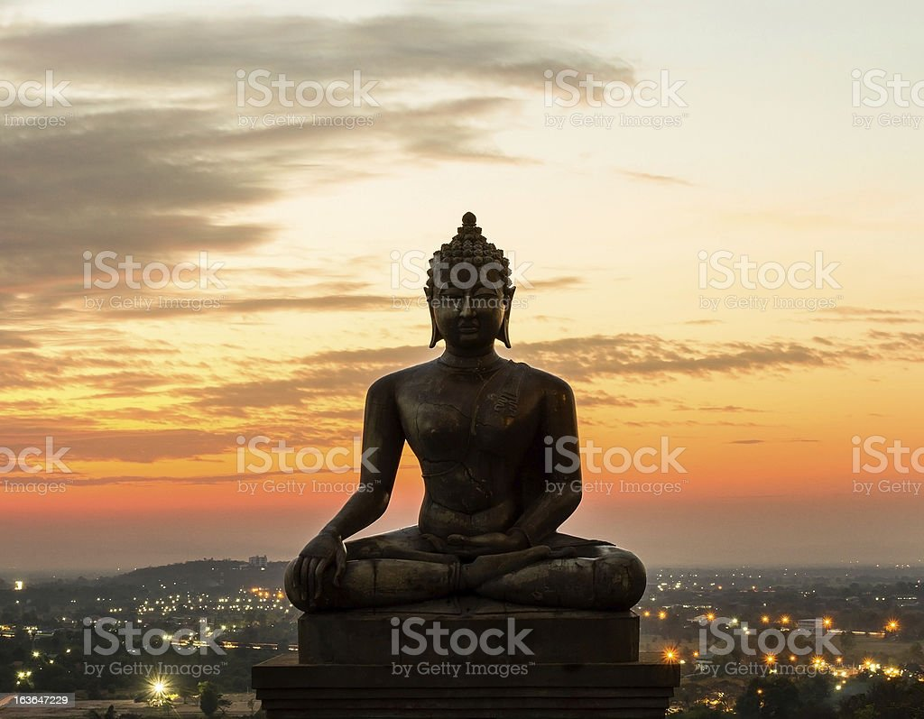 Buddha statue in sunset at Phrabuddhachay Temple Saraburi, Thailand. royalty-free stock photo