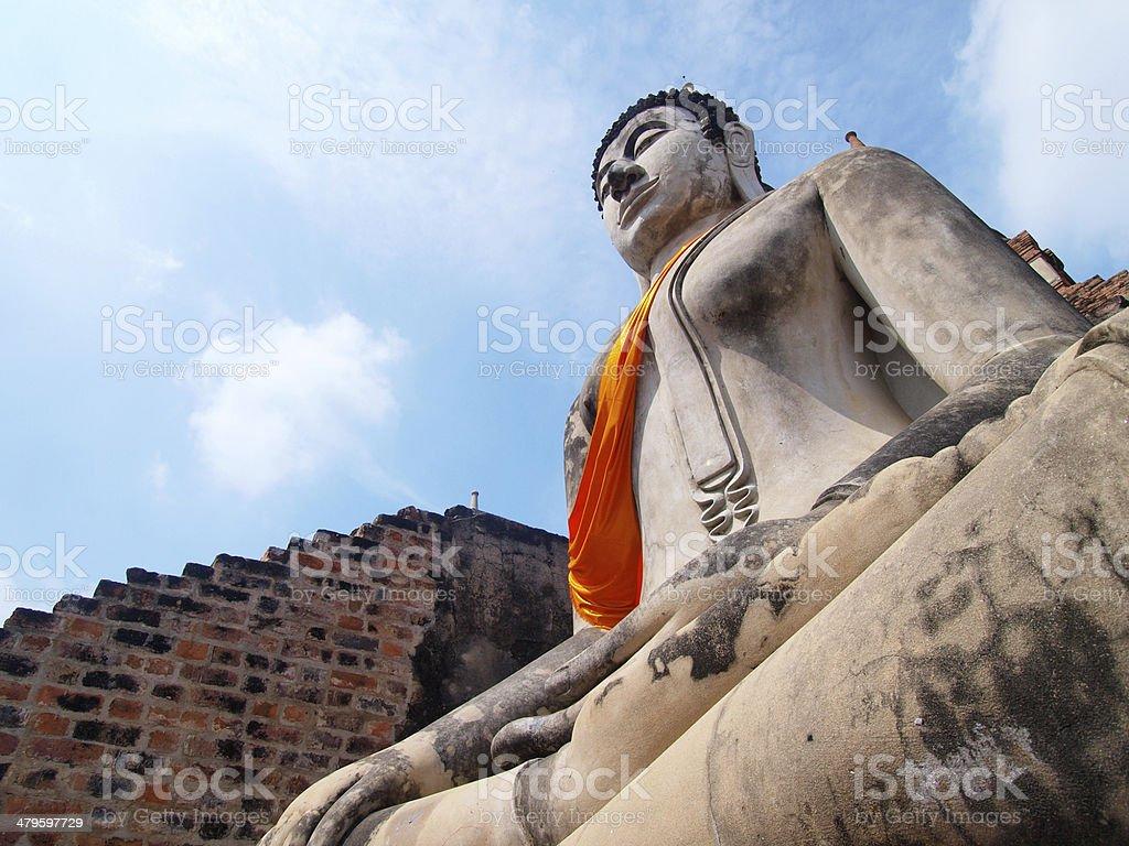 Buddha statue in Wat Yai Chai Mongkol- Ayuttaya of Thailand stock photo