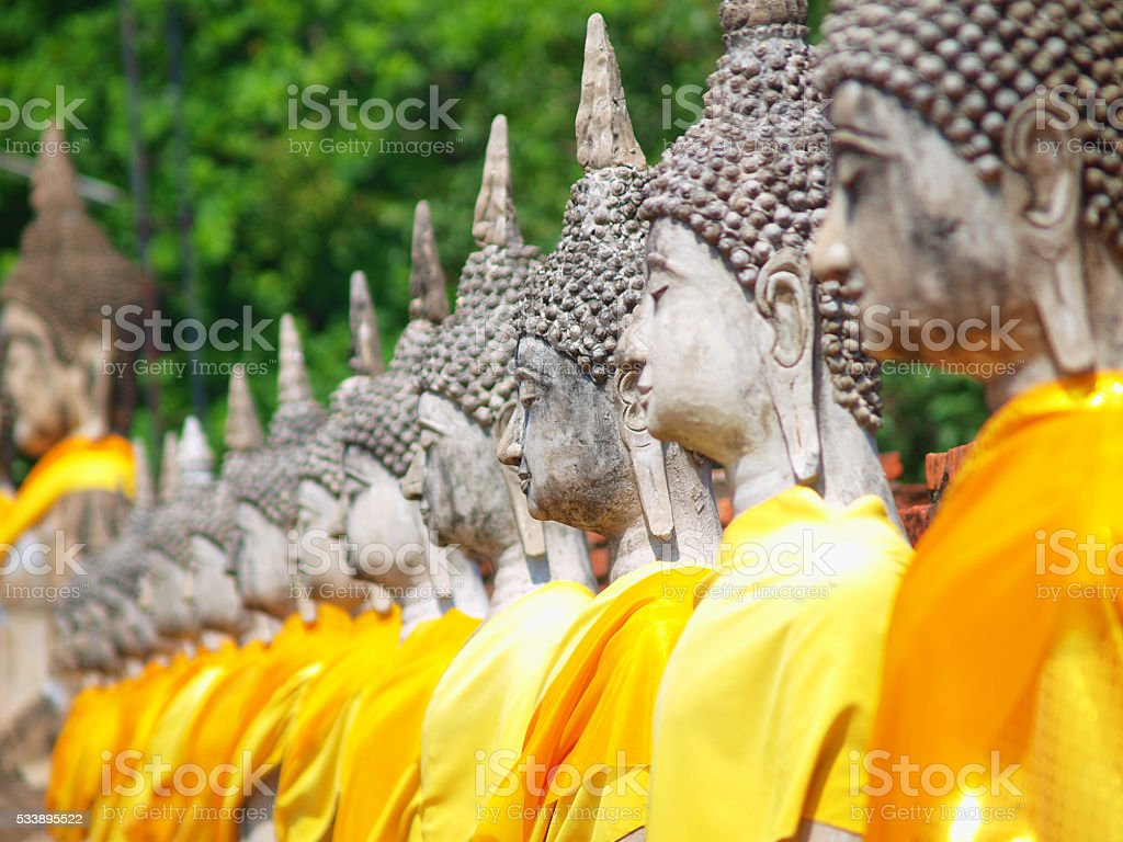 Buddha statue in Wat Yai Chai Mongkol- Ayuttaya of Thailand stock photo