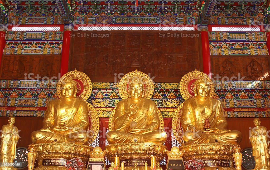buddha statue in Wat-Leng-Noei-Yi2 at Bang-Bua-Thong, Nonthaburi, Thailand stock photo