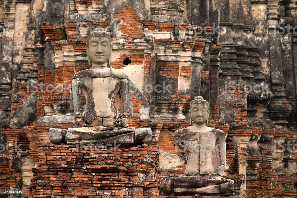 Buddha statue of the old temples in Ayutthaya. royalty-free stock photo