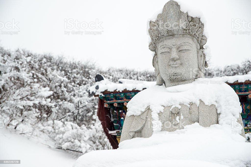 Posąg Buddy na zamrożone zbiór zdjęć royalty-free