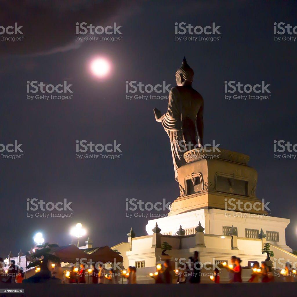 Buddha statue on the night. royalty-free stock photo