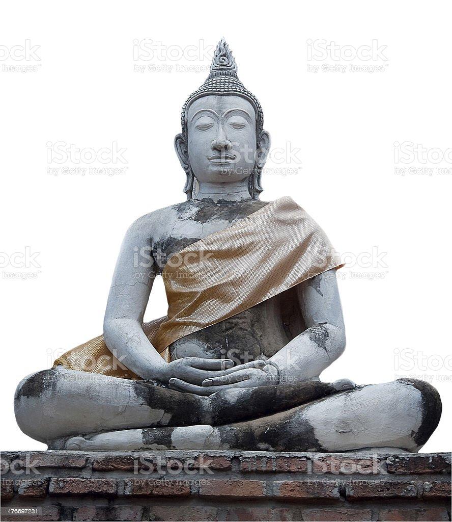 Buddha statue on white background royalty-free stock photo