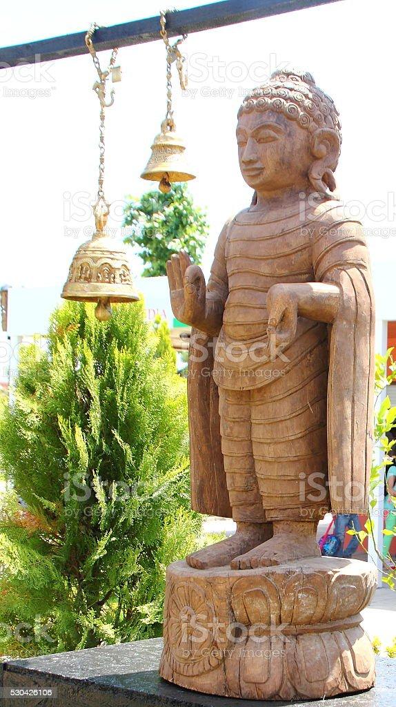 buddha statue outside stock photo