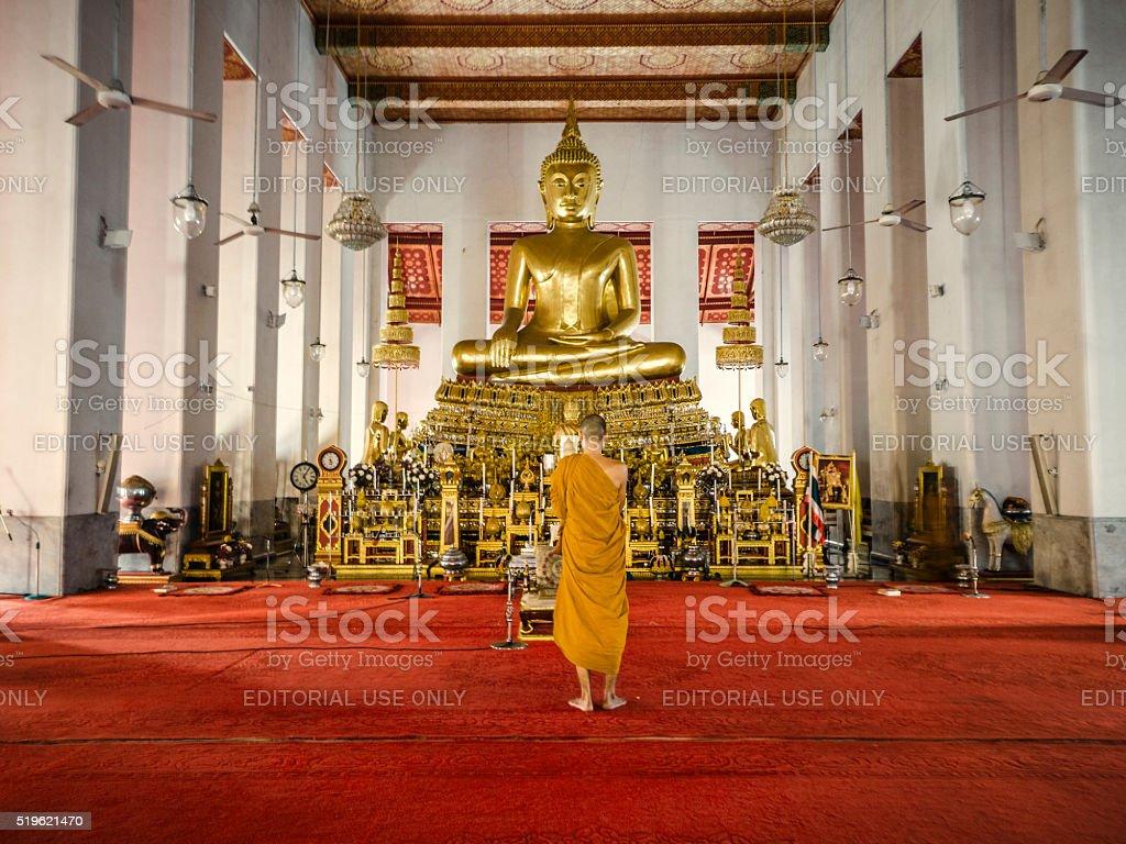 Buddha statue Wat Mahathat temple Bangkok Thailand stock photo
