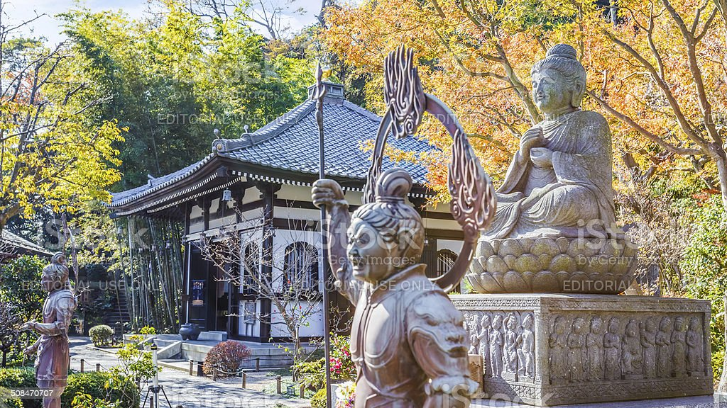 Buddha statue with the Guardians at Hasedera Temple in Kamakura stock photo