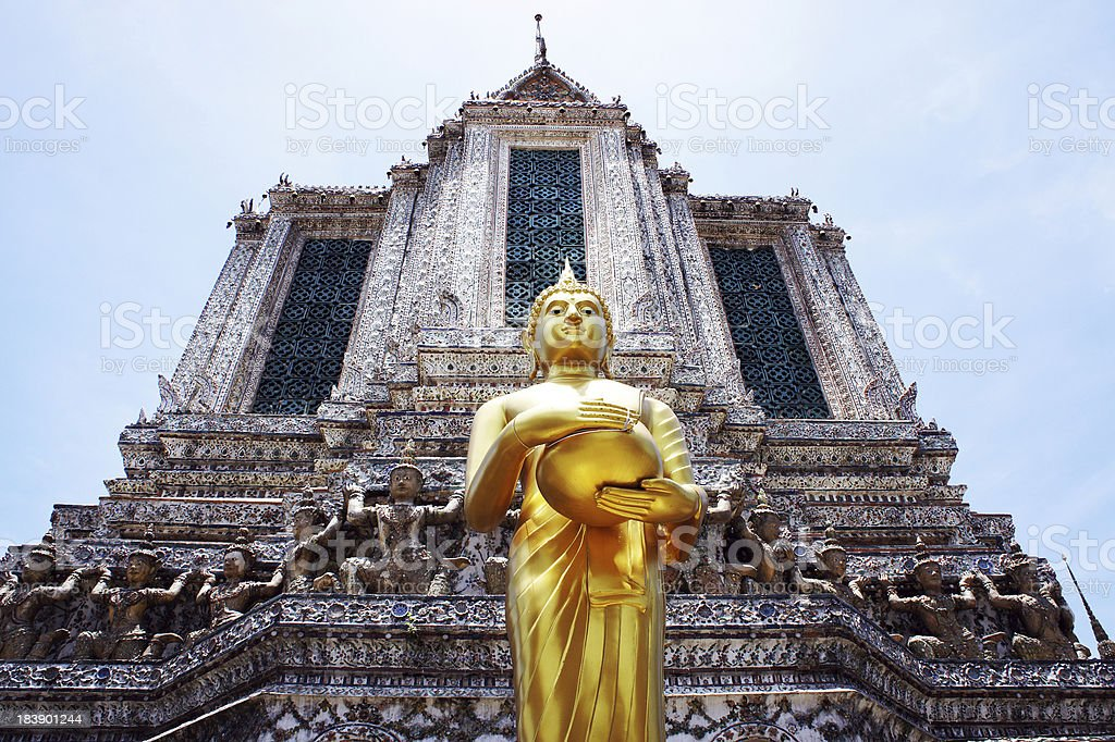 Buddha statues and pagodas stock photo