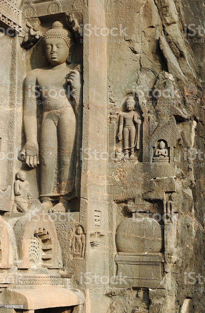Buddha statues at Ajanta,cave temple complex of Southern India stock photo