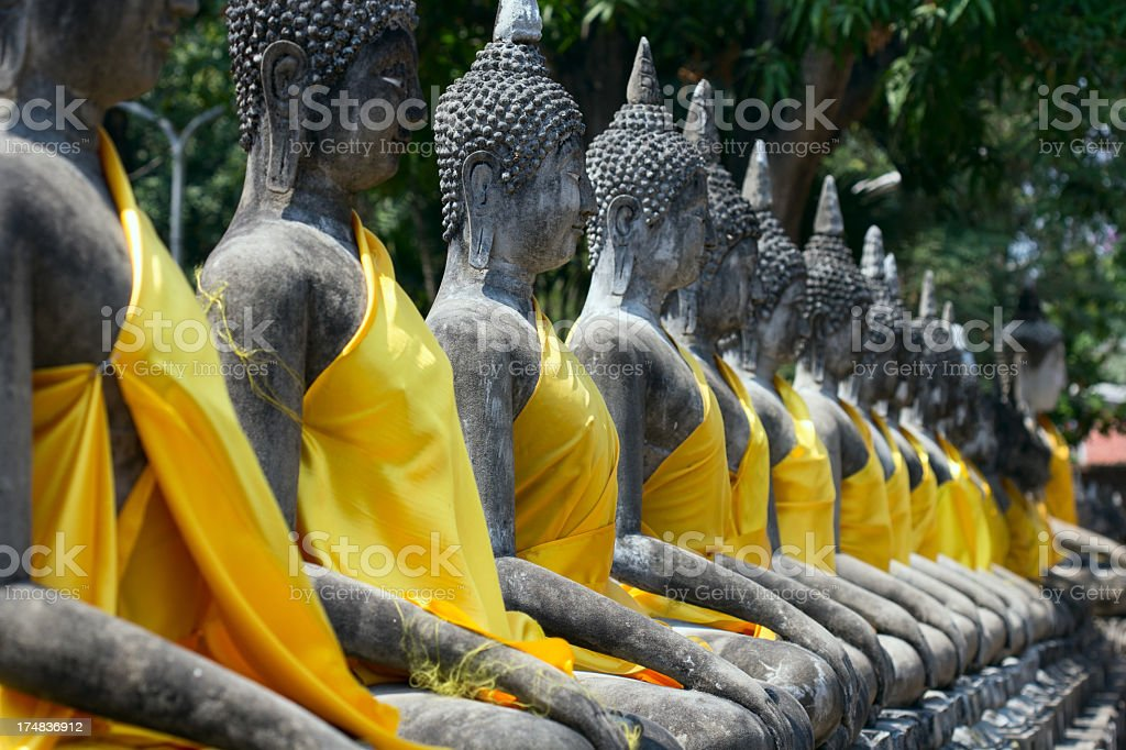 Buddha Statues at Ayuthaya royalty-free stock photo