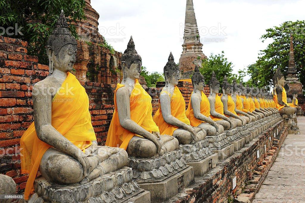 Buddha Statues at Ayutthaya Historical Park of Thailand stock photo