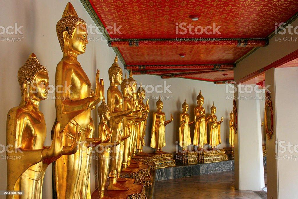 Buddha statues at Grand Palace stock photo