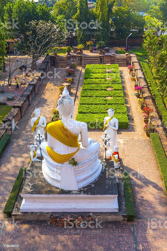 Buddha statues at the temple of Wat Yai Chai Mongko royalty-free stock photo