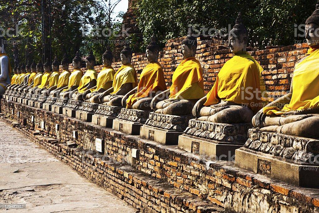 Buddha statues at the temple of Wat Yai Chai Mongkol royalty-free stock photo