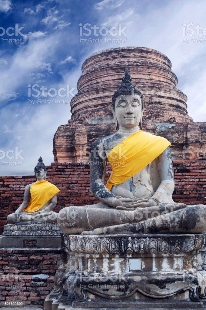Buddha Statues at Wat Yai Chaimongkol in Ayutthaya, Thailand stock photo