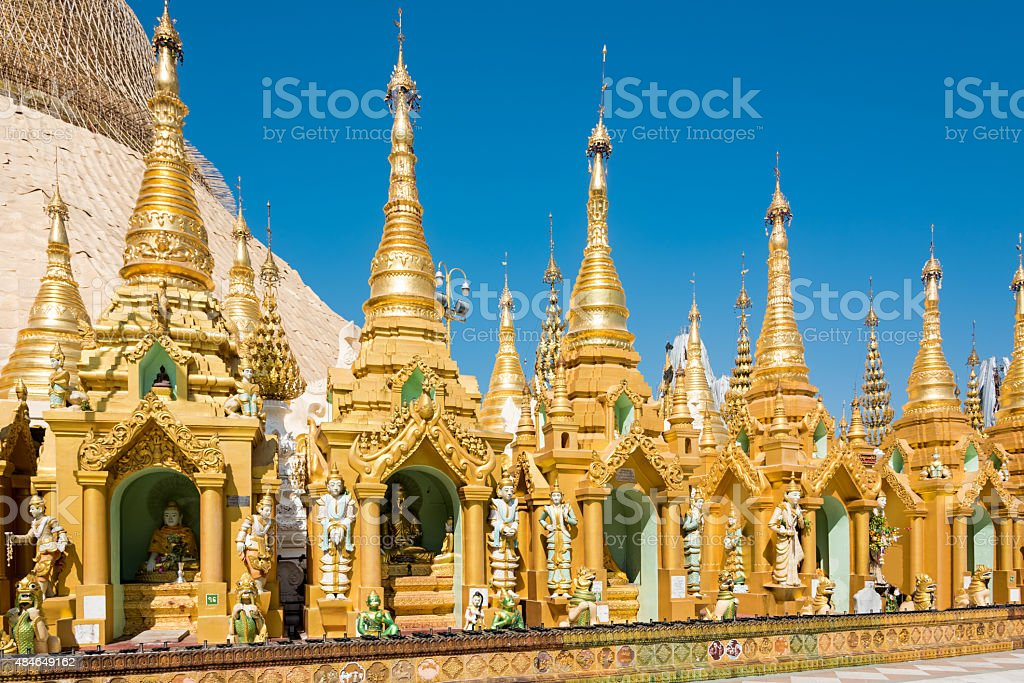 Buddha Statues Golden Shirnes Shwedagon Paya Yangon, Burma Myanmar stock photo