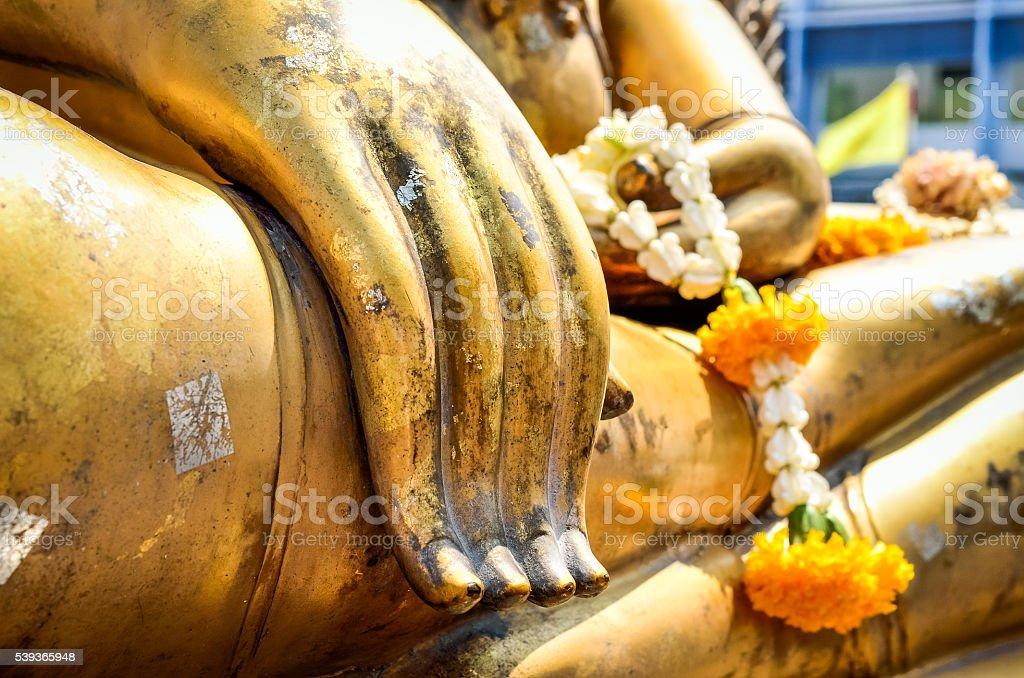Buddha statue's hand stock photo