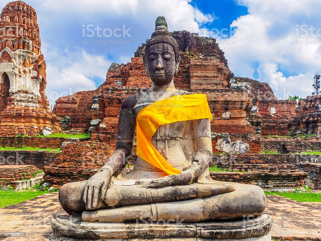 Buddha statues in an old temple ruins stock photo