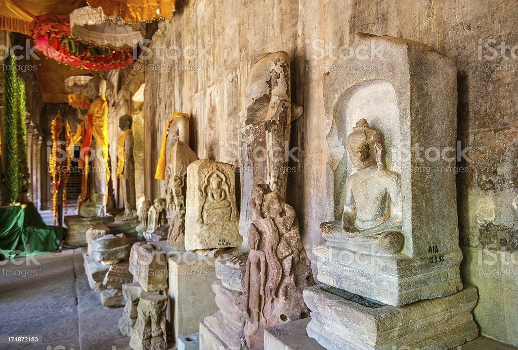 Buddha statues in Angkor Wat stock photo