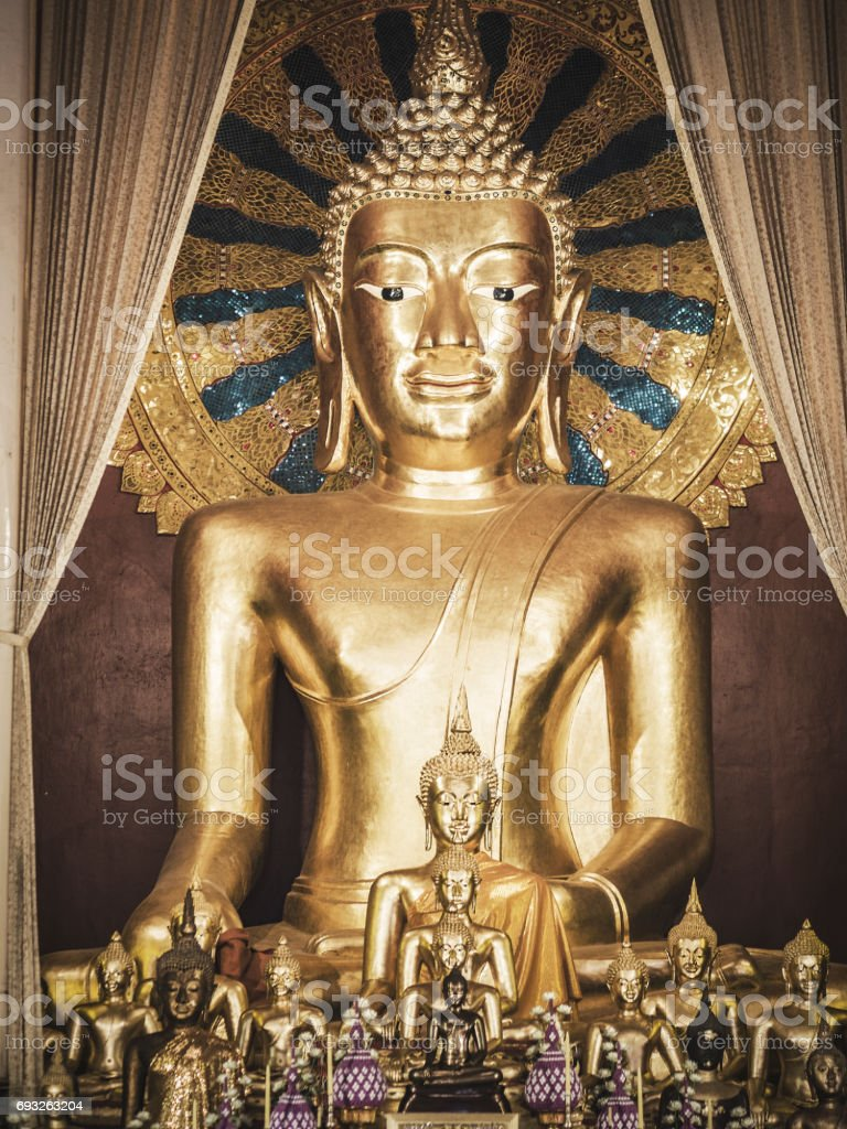 Buddha statues in Phra Singh Temple Chiang Mai Thailand stock photo