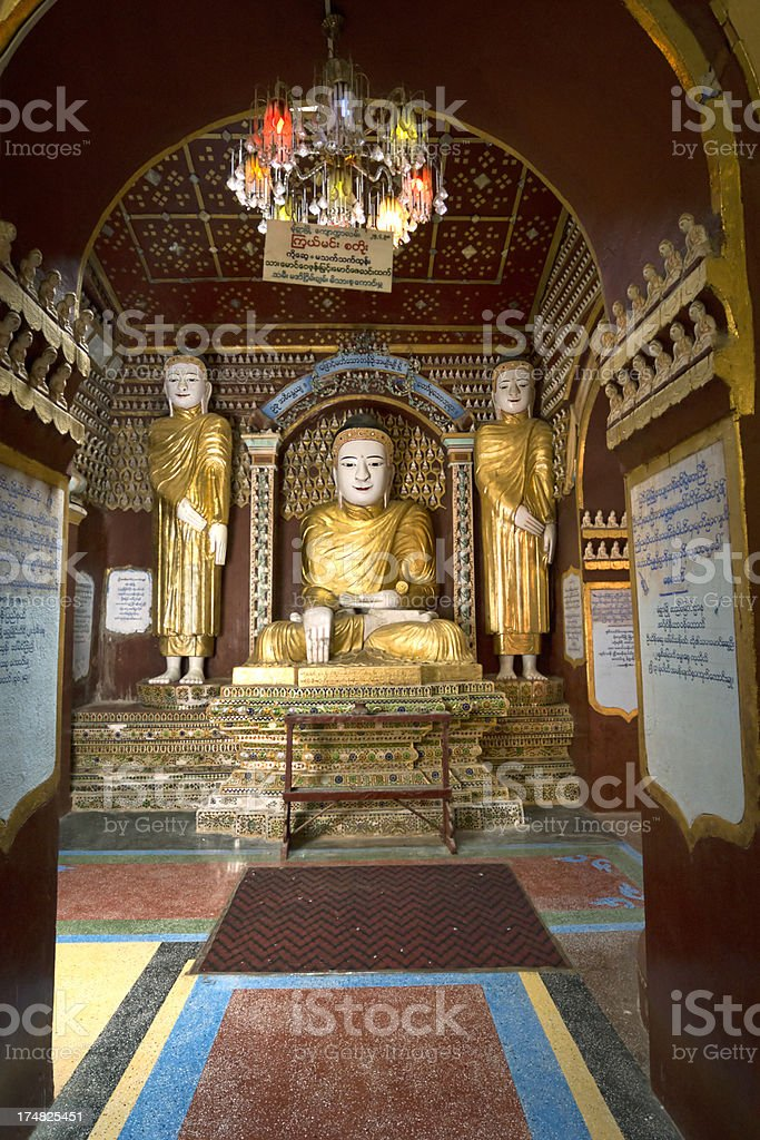 Buddha statues in the Thanboddhay pagoda (Monywa, Myanmar) stock photo
