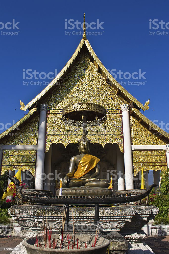 Buddha statues in Wat Chedi Luang royalty-free stock photo