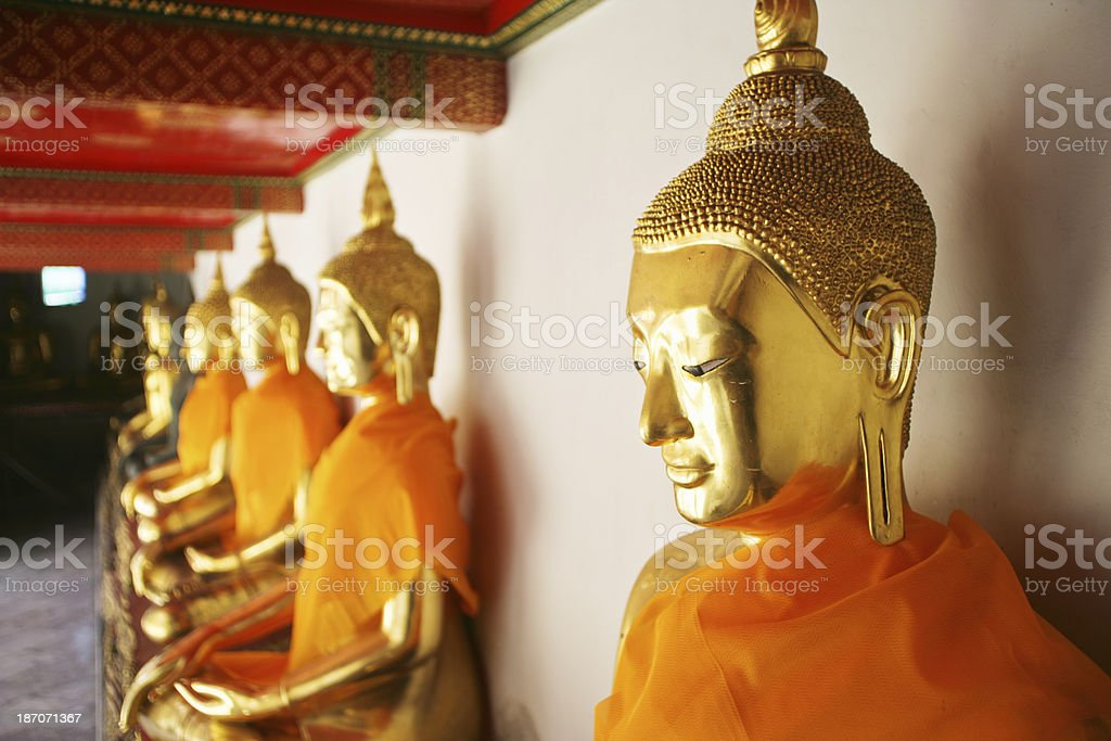 Buddha statues in Wat Pho temple royalty-free stock photo