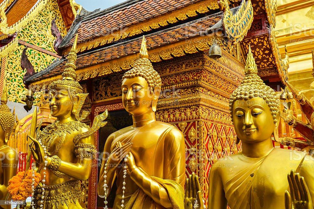 Buddha Statues in Wat Phra That Doi Suthep stock photo