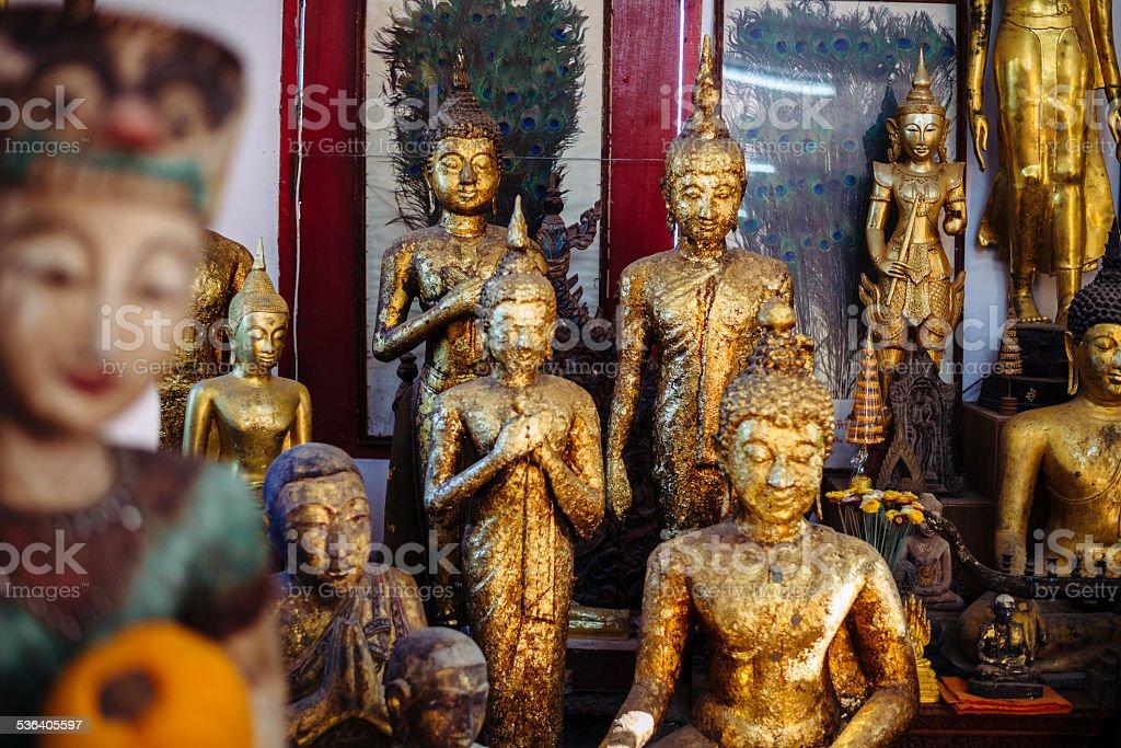 Buddha statues in Wat Phrathat Doi Suthep. stock photo