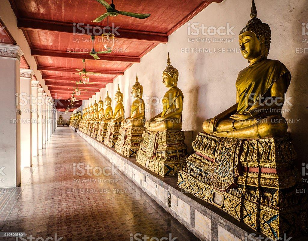 Buddha statues Wat Mahathat temple Bangkok Thailand stock photo
