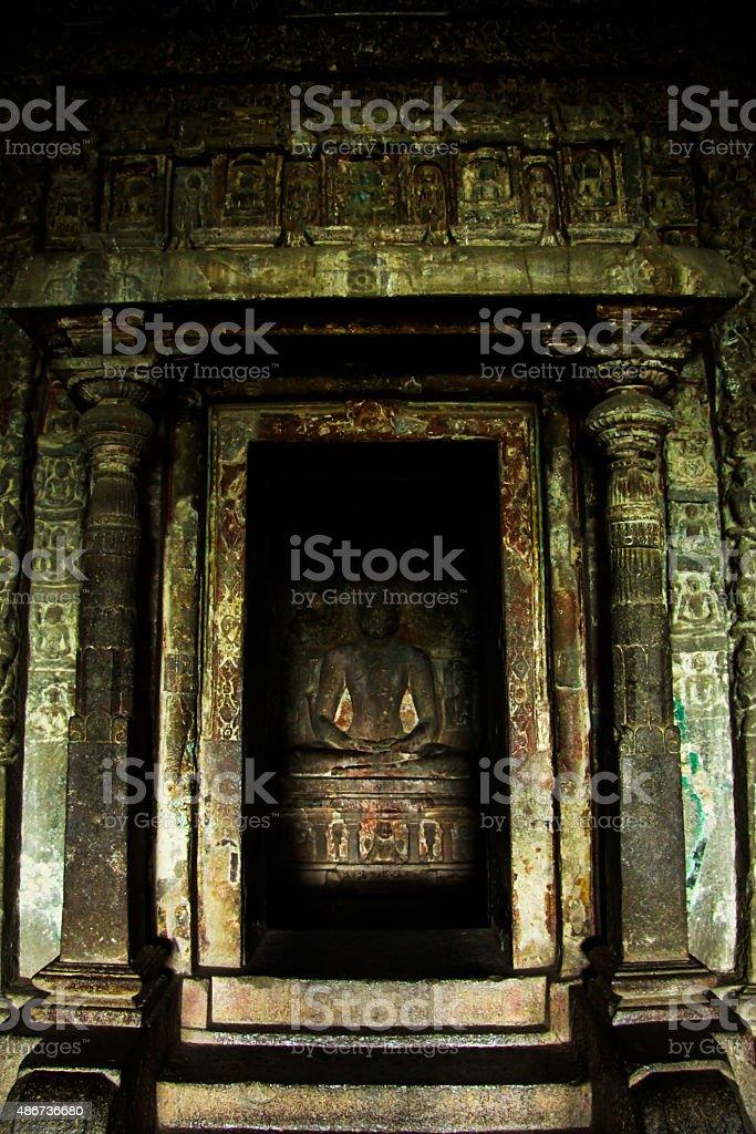 Buddha Status in Ellora stock photo