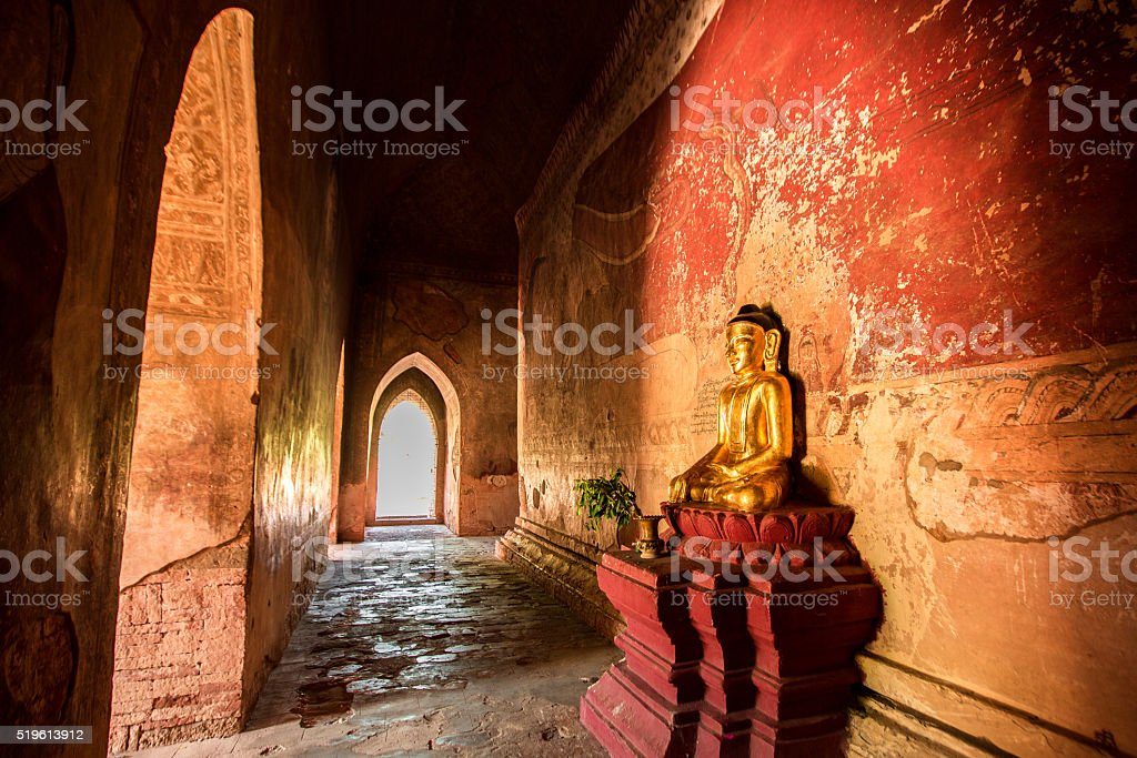 Buddha Statutes inside the Ancient Temple, Myanmar stock photo