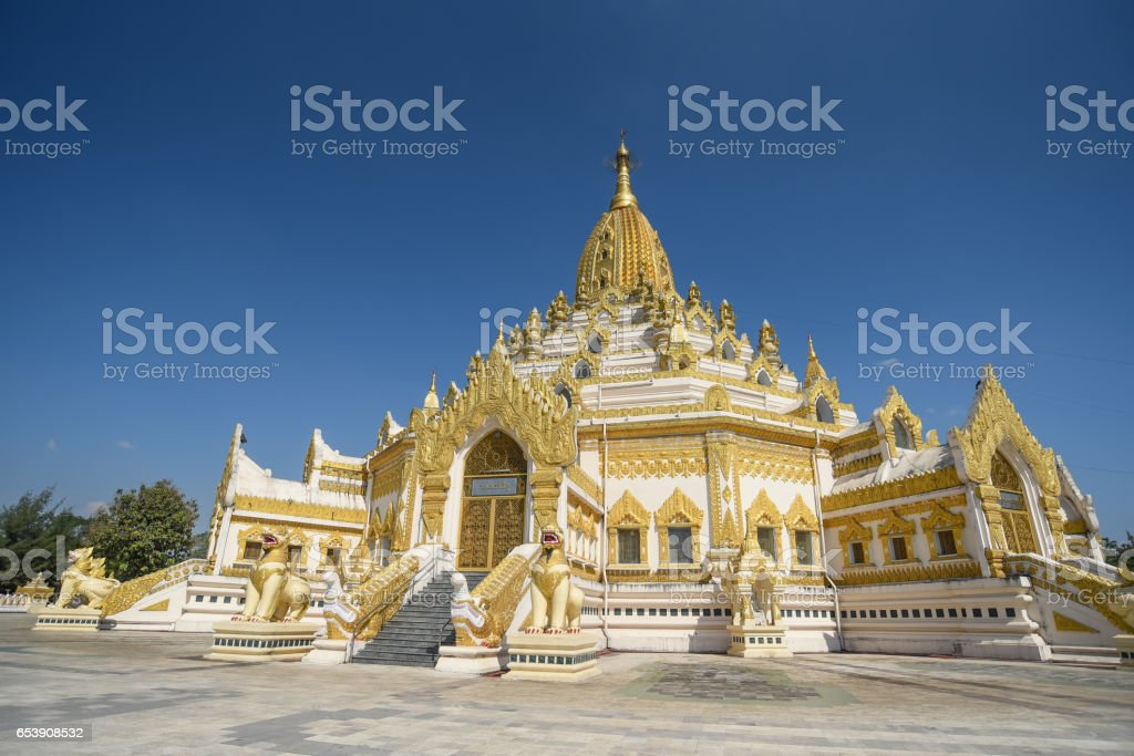 Buddha Tooth Relic Pagada or Swe Taw Myat Pagoda, Yangon, Myanmar stock photo