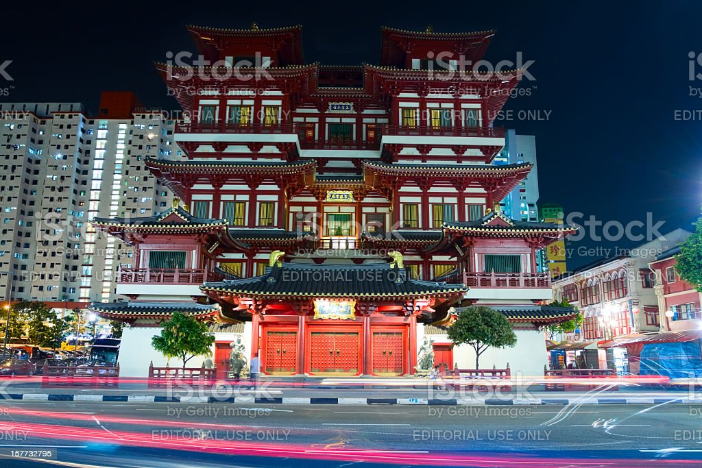 Buddha Tooth Relic Temple at night stock photo
