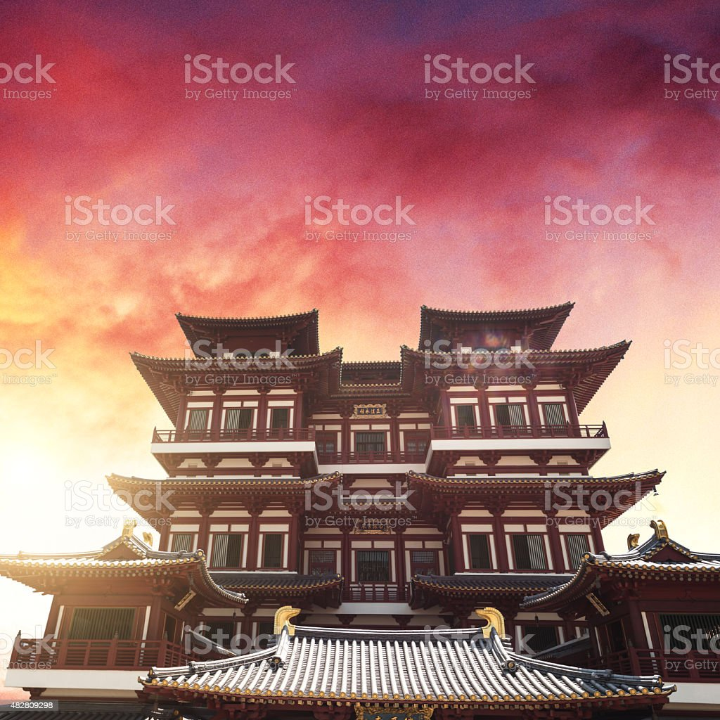 Buddha tooth relic temple in singapore stock photo