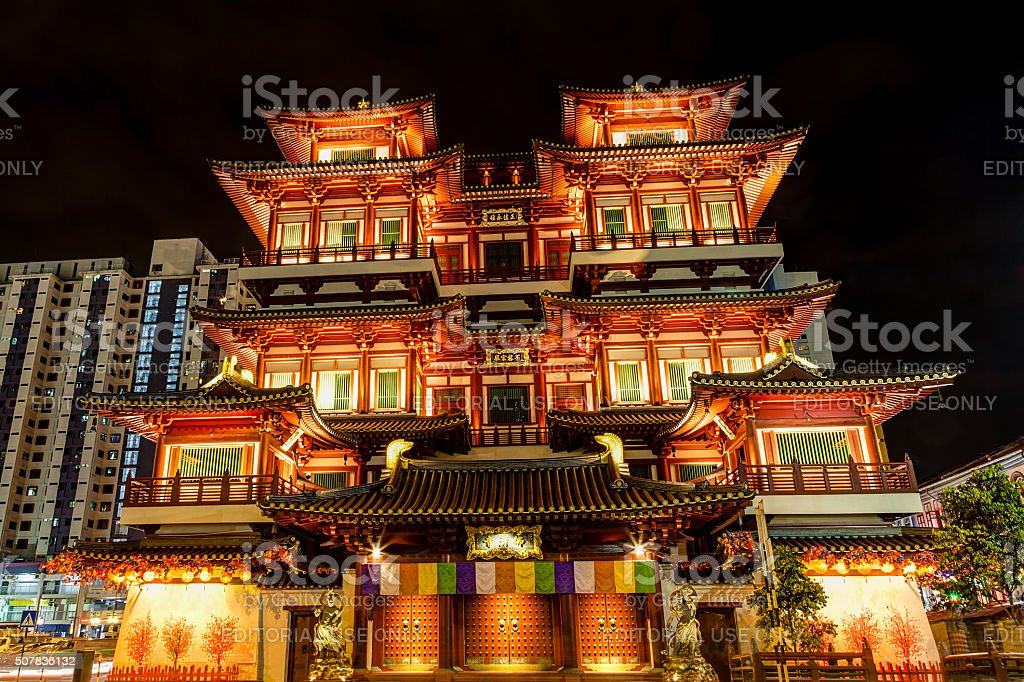Buddha Tooth Relic Temple Museum in Singapore Chinatown stock photo