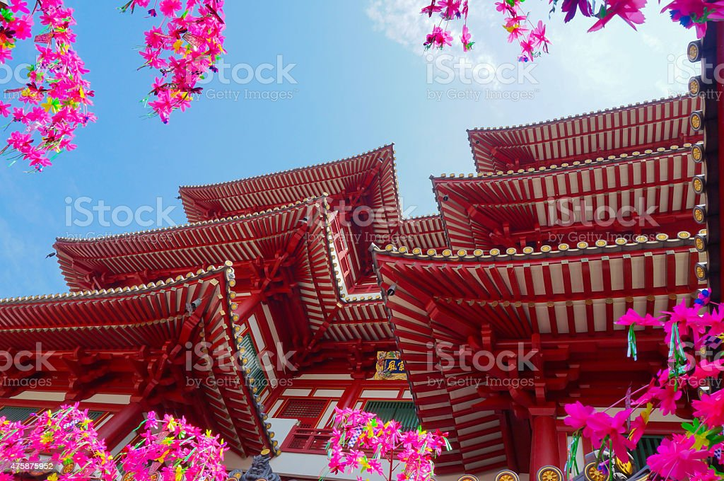 Buddha tooth temple at china town,singapore. stock photo