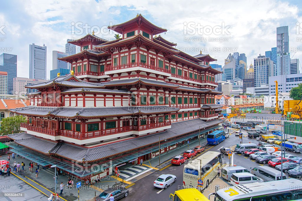 buddha tooth temple in Singapore stock photo