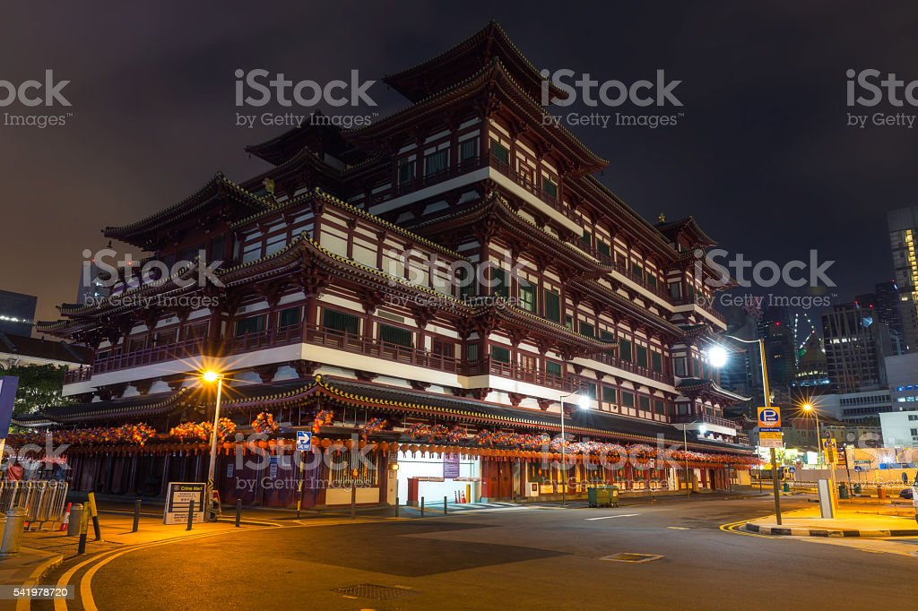 Buddha Toothe Relic Temple in Singapore stock photo