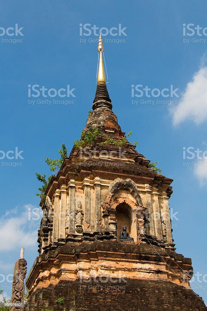 Buddha tower in Chiangmai Thailand stock photo