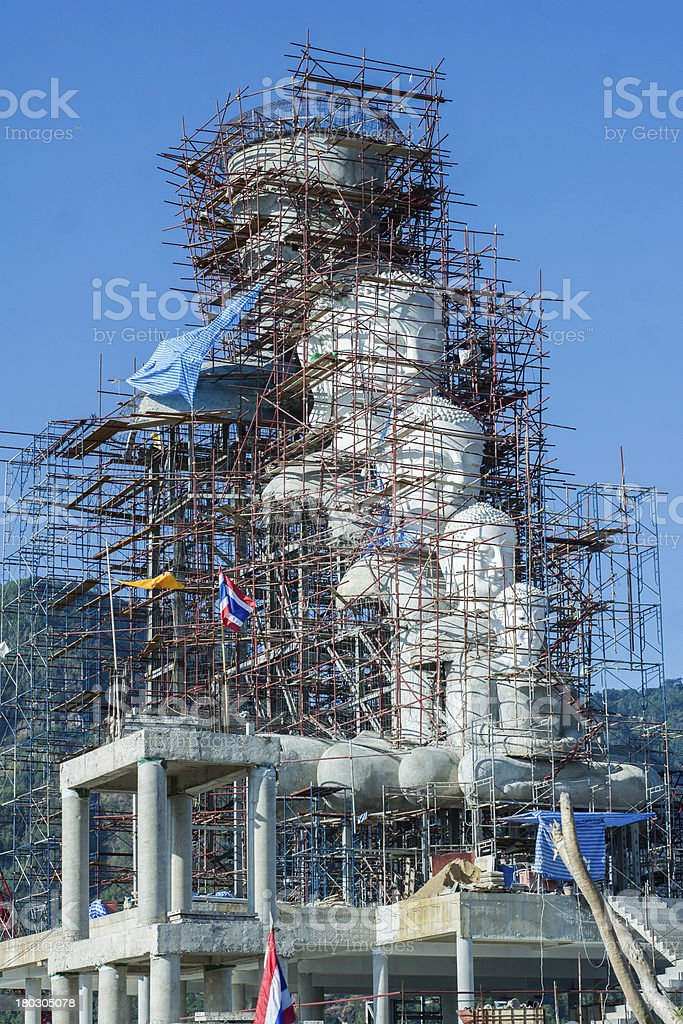 Buddha under construction and blue background royalty-free stock photo