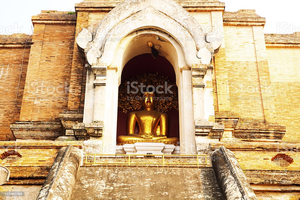 Buddha under golden tree stock photo