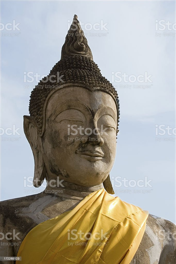 Buddha with blue sky stock photo