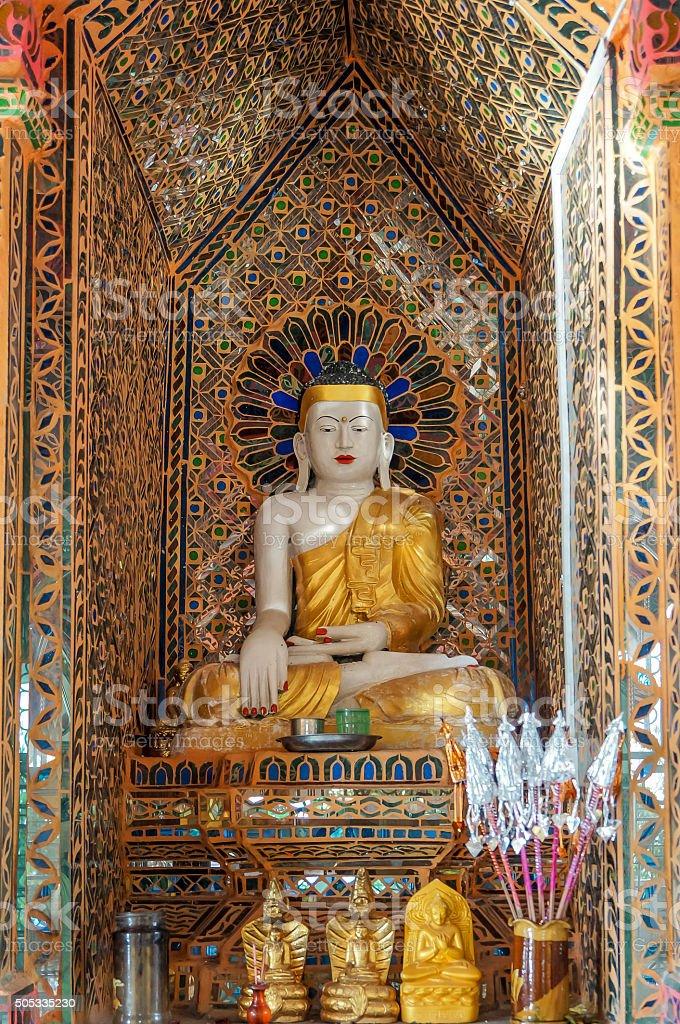 Buddha with earth witness mudra at Mandalay Hill stock photo