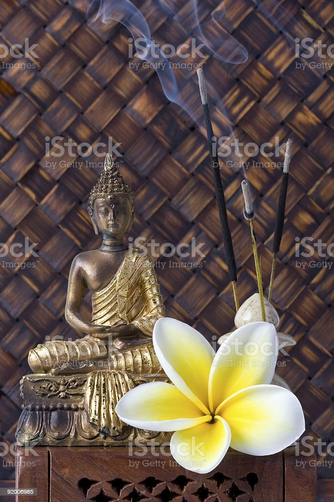 Buddha With Incense Sticks And Flower royalty-free stock photo