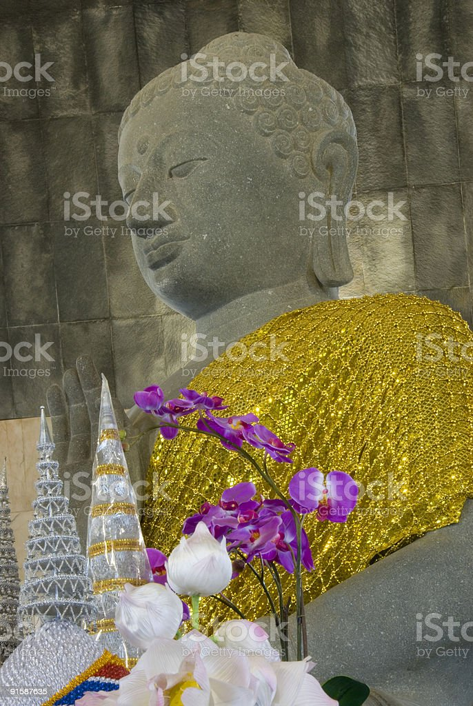 Buddha with Orchids royalty-free stock photo